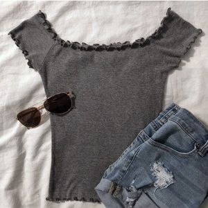 Hollister Fitted Ruffle Off The Shoulder T Shirt